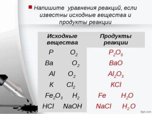 Напишите уравнения реакций, если известны исходные вещества и продукты реакци