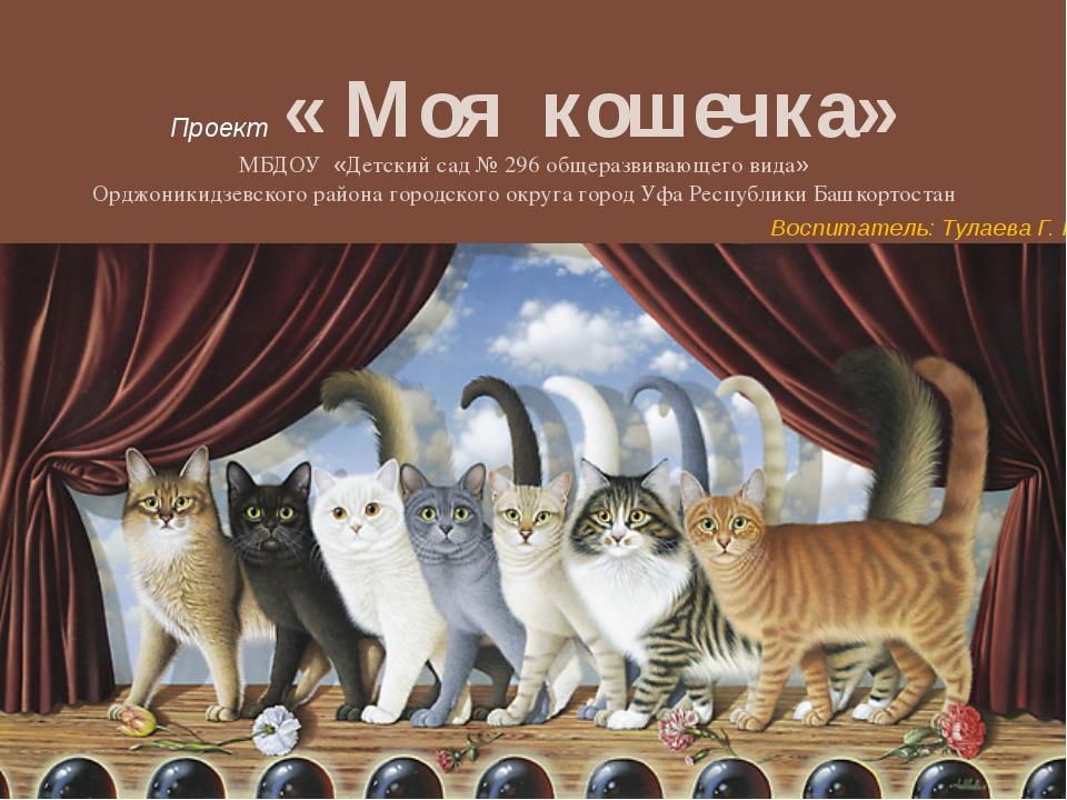 Проект « Моя кошечка» МБДОУ «Детский сад № 296 общеразвивающего вида» Орджони...
