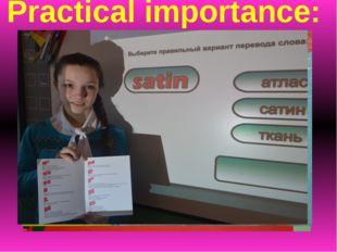 Practical importance: