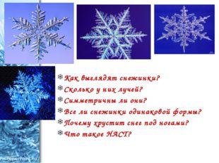 Как выглядят снежинки? Сколько у них лучей? Симметричны ли они? Все ли снежи