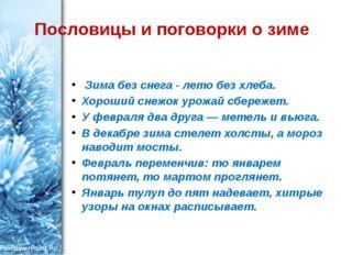 Пословицы и поговорки о зиме Зима без снега - лето без хлеба. Хороший снежок