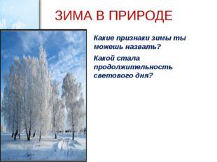 ЗИМА В ПРИРОДЕ Какие признаки зимы ты можешь назвать? Какой стала продолжител