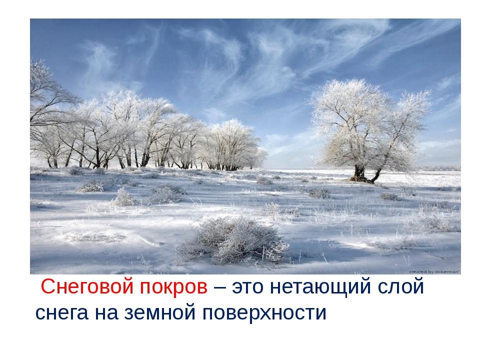 Снеговой покров – это нетающий слой снега на земной поверхности ProPowerPoin...