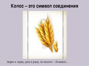 Колос – это символ соединения Зерно к зерну, ряд к ряду, из малого – большое…