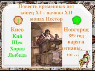 Повесть временных лет конец XI – начало XII монах Нестор 1 2 Киев Кий Щек Хор