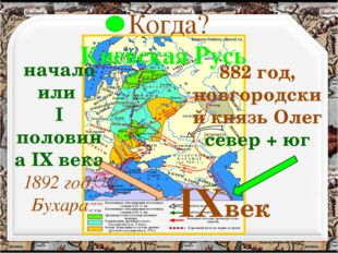Когда? Киевская Русь начало или I половина IX века 1892 год, Бухара 882 год,