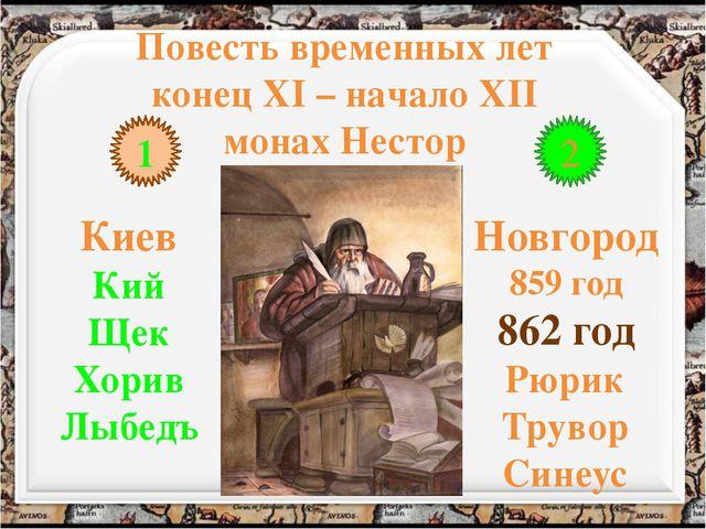 Повесть временных лет конец XI – начало XII монах Нестор 1 2 Киев Кий Щек Хор...
