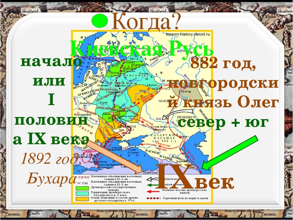 Когда? Киевская Русь начало или I половина IX века 1892 год, Бухара 882 год,...