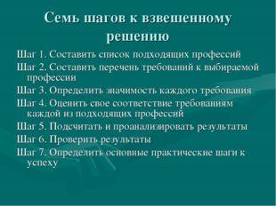 Семь шагов к взвешенному решению Шаг 1. Составить список подходящих профессий