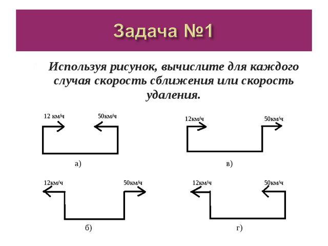 Используя рисунок, вычислите для каждого случая скорость сближения или скорос...