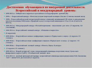 Достижения обучающихся во внеурочной деятельности. Всероссийский и международ