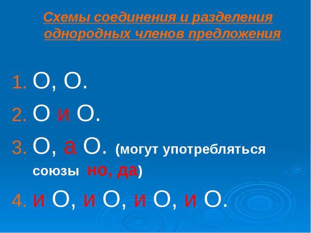 Схемы соединения и разделения однородных членов предложения О, О. О и О. О,...