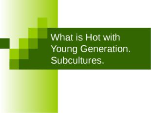 What is Hot with Young Generation. Subcultures.