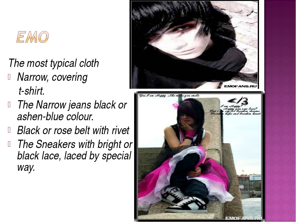 The most typical cloth Narrow, covering t-shirt. The Narrow jeans black or as...