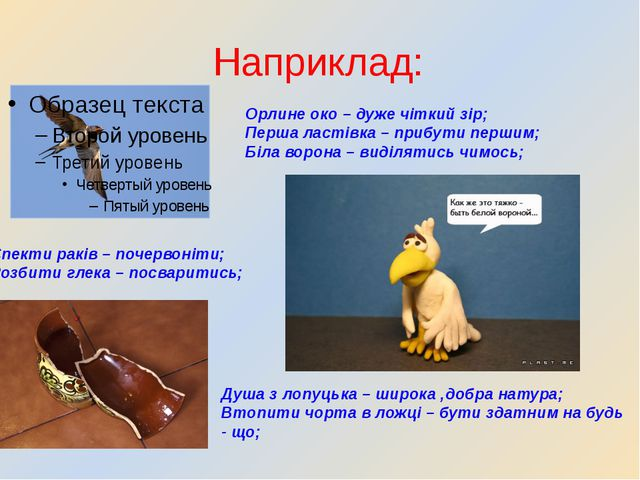 Наприклад: Орлине око – дуже чіткий зір; Перша ластівка – прибути першим; Біл...