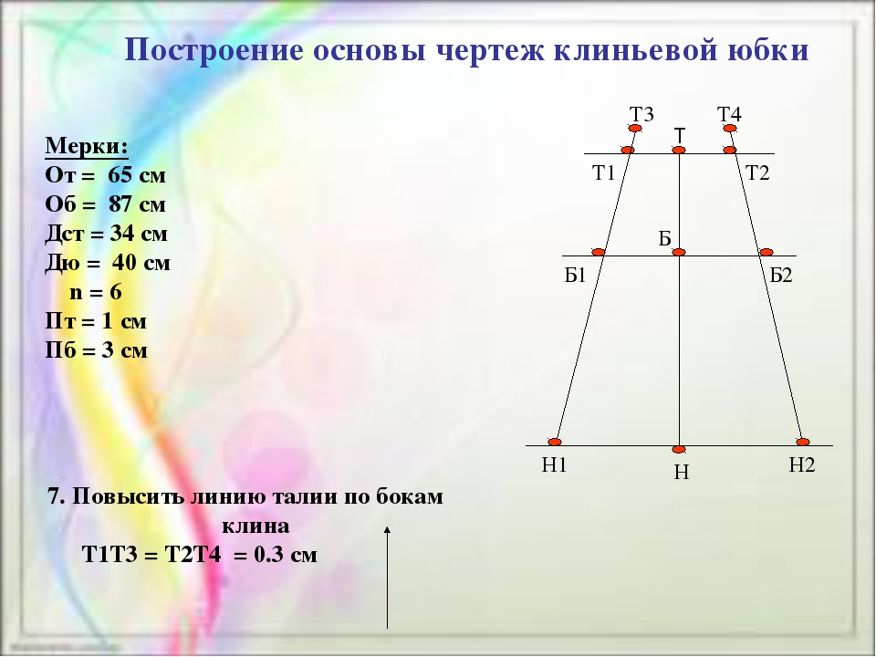 Построение основы чертеж клиньевой юбки Мерки: От = 65 см Об = 87 см Дст = 34...