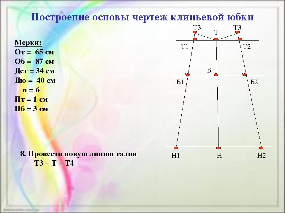Построение основы чертеж клиньевой юбки Мерки: От = 65 см Об = 87 см Дст = 3...