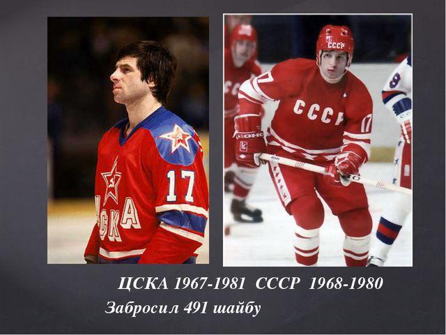 ЦСКА 1967-1981 СССР 1968-1980 Забросил 491 шайбу