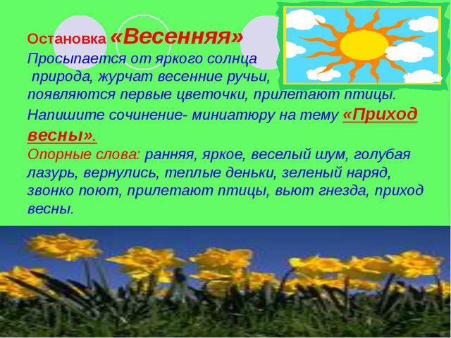 Остановка «Весенняя» Просыпается от яркого солнца природа, журчат весенние р...