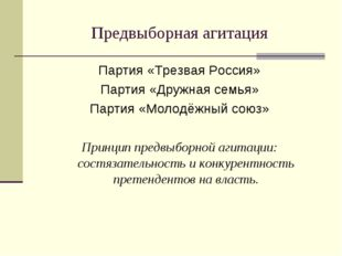 Предвыборная агитация Партия «Трезвая Россия» Партия «Дружная семья» Партия «