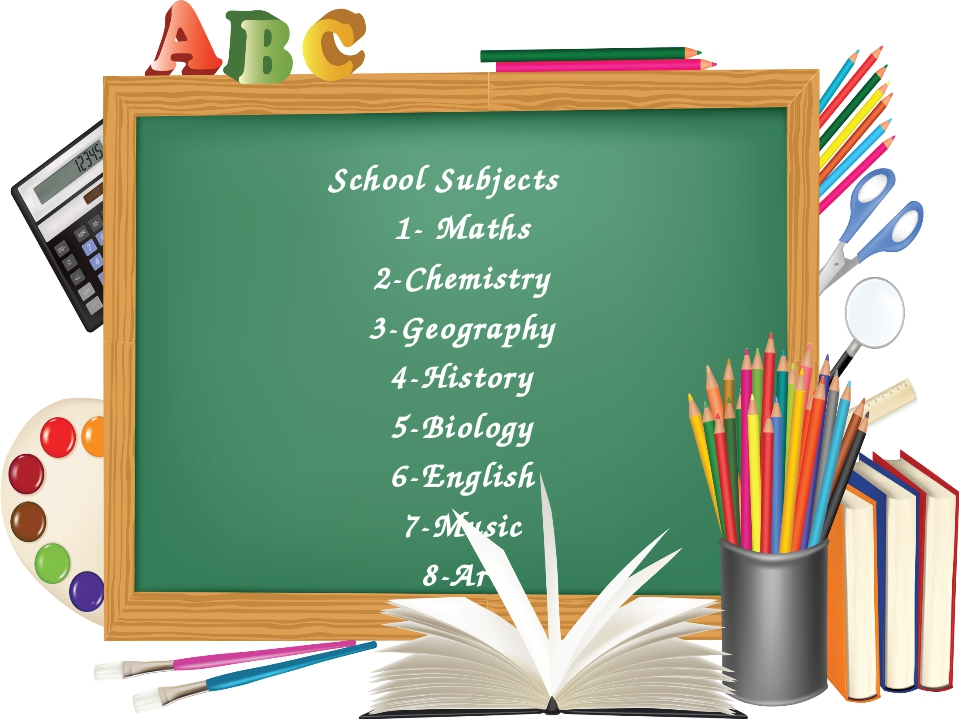 School Subjects 1- Maths 2-Chemistry 3-Geography 4-History 5-Biology 6-Englis...