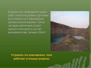 В результате проведения горных работ снизился уровень грунтовых вод в резуль
