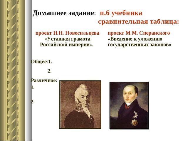 Домашнее задание: п.6 учебника сравнительная таблица: проект Н.Н. Новосильцев...