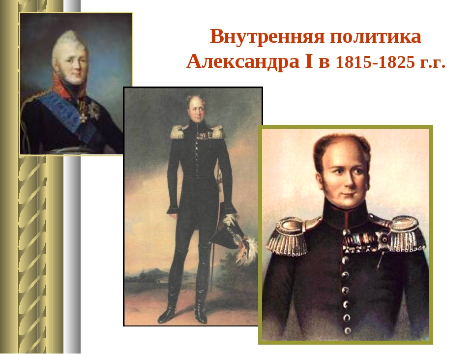Внутренняя политика Александра I в 1815-1825 г.г.