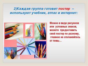 2)Каждая группа готовит постер –используют учебник, атлас и интернет: Можно в