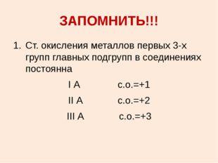 ЗАПОМНИТЬ!!! Ст. окисления металлов первых 3-х групп главных подгрупп в соеди
