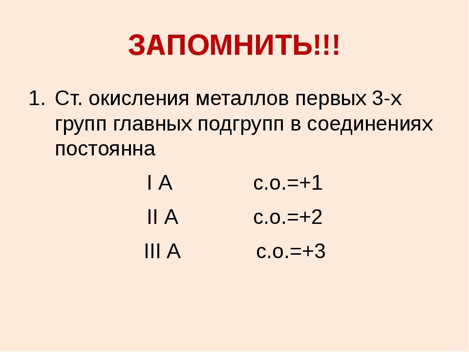 ЗАПОМНИТЬ!!! Ст. окисления металлов первых 3-х групп главных подгрупп в соеди...
