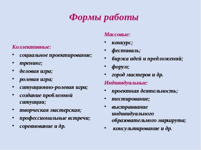 Формы работы Коллективные: социальное проектирование; тренинг; деловая игра;...