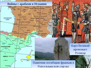 Войны с арабами в Испании Памятник погибщим франкам в Ронсельванском ущелье К