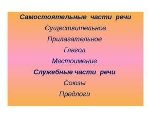 Самостоятельные части речи Существительное Прилагательное Глагол Местоимение