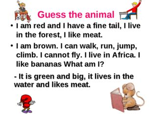 Guess the animal I am red and I have a fine tail, I live in the forest, I lik