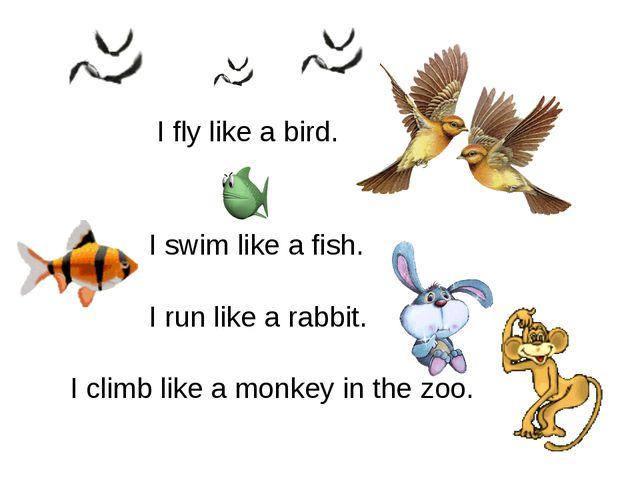 I fly like a bird. I swim like a fish. I run like a rabbit. I climb like a m...