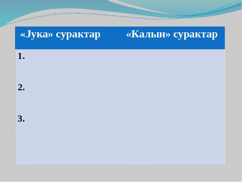 «Jука»сурактар «Калын»сурактар 1. 2. 3.