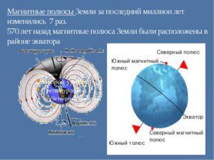 Магнитные полюсы Земли за последний миллион лет изменились 7 раз. 570 лет наз