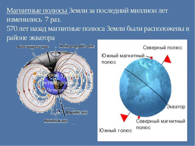 Магнитные полюсы Земли за последний миллион лет изменились 7 раз. 570 лет наз...
