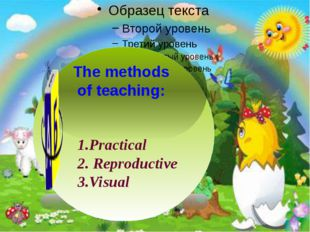 1.Practical 2. Reproductive 3.Visual The methods of teaching: