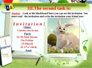 Omar I invite you to my Party At 10 Abai Street. On Friday 15 March At 17 o'