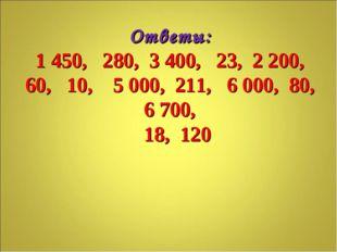 Ответы: 1 450, 280, 3 400, 23, 2 200, 60, 10, 5 000, 211, 6 000, 80, 6 700, 1