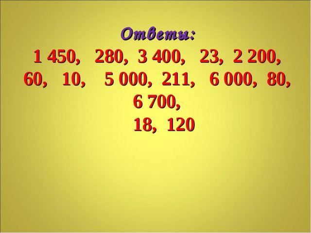 Ответы: 1 450, 280, 3 400, 23, 2 200, 60, 10, 5 000, 211, 6 000, 80, 6 700, 1...