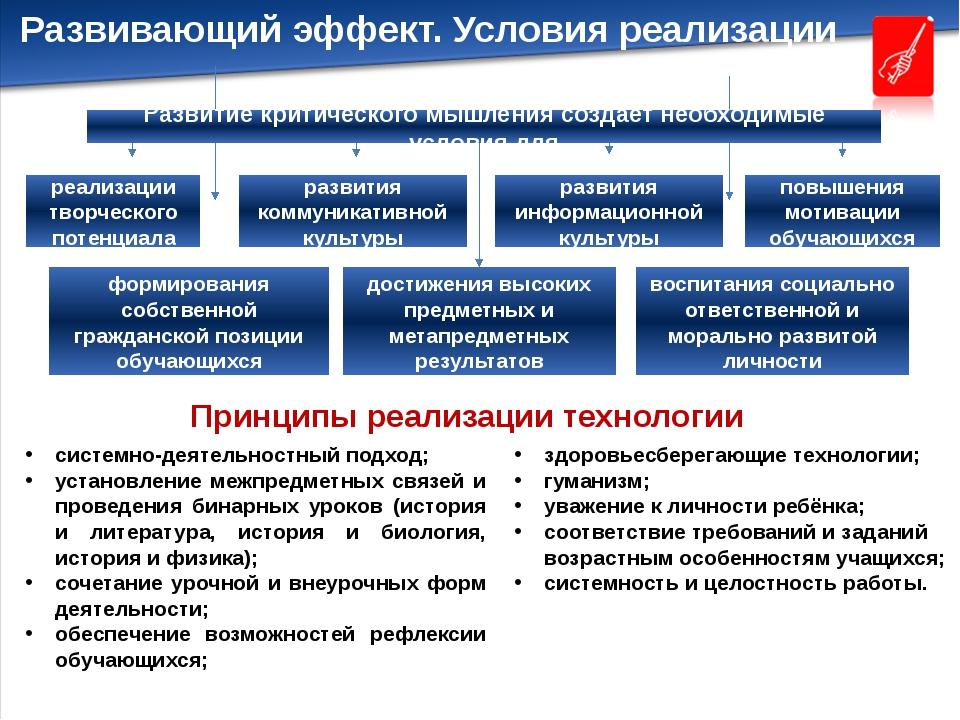 Развивающий эффект. Условия реализации Принципы реализации технологии реализа...