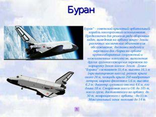 """Буран Буран"""" - советский крылатый орбитальный корабль многоразового использов"""