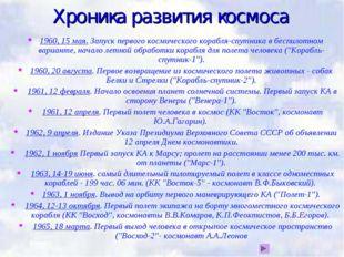 Хроника развития космоса 1960, 15 мая. Запуск первого космического корабля-сп