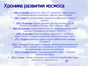 """Хроника развития космоса 1966, 21 декабря.Запуск КА """"Луна-13"""", проведение пер"""