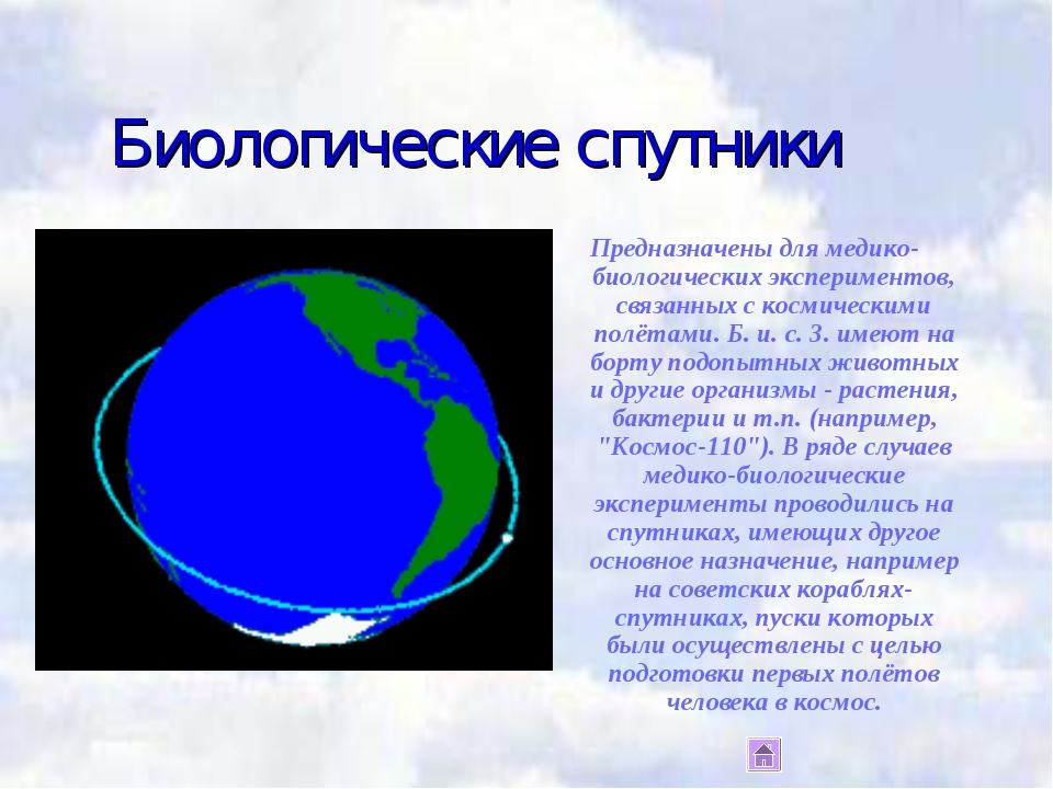 Биологические спутники Предназначены для медико-биологических экспериментов,...
