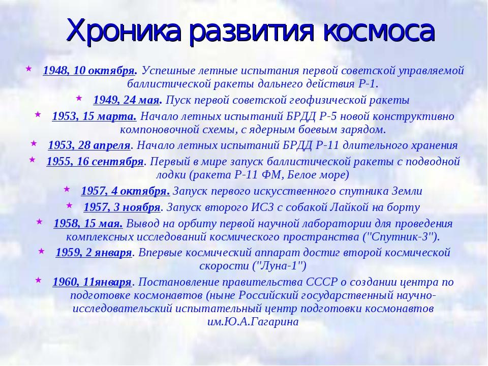 Хроника развития космоса 1948, 10 октября. Успешные летные испытания первой с...