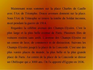 Maintenant nous sommes sur la place Charles de Gaulle avec l'Arc de Triomphe.